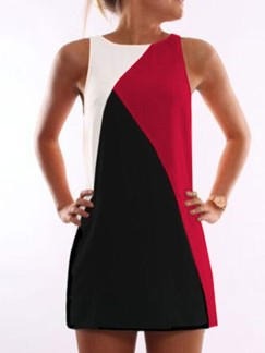 Black White and Red Shift Above Knee Plus Size Dress for Casual Party Evening