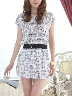 Black and White Sheath Above Knee Plus Size Dress for Casual Evening