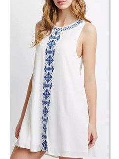 White and Blue Shift Above Knee Dress for Casual Party Special Offer
