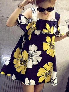 Black and Yellow Floral Shift Above Knee Dress for Casual Beach