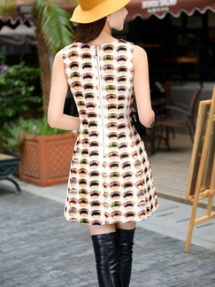 Beige Colorful Above Knee Fit  Flare Plus Size Dress for Casual Party Special Offer