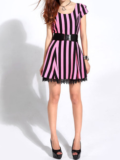 Black and Pink Above Knee Fit  Flare Dress for Casual Party Special Offer