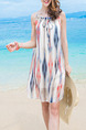 Colorful Slip Shift Above Knee Dress for Casual Beach