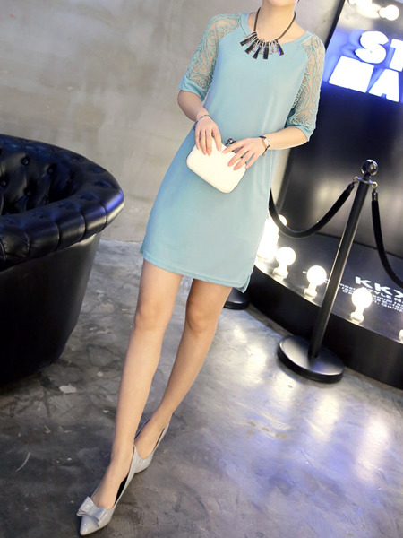 Blue Shift Above Knee Lace Plus Size Dress for Casual Evening Party