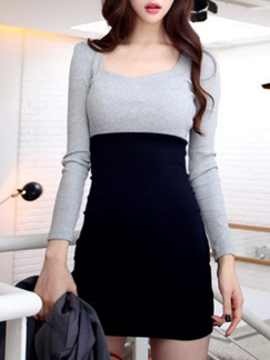 Grey and Black Bodycon Above Knee Long Sleeve Plus Size Dress for Casual Evening Party