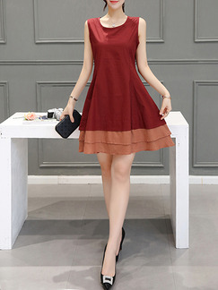 Red Fit & Flare Above Knee Plus Size Dress for Casual Evening Party