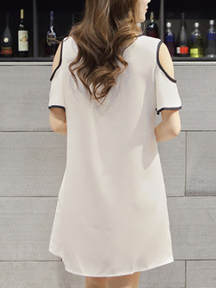 White Printed Shift Above Knee Plus Size Dress for Casual