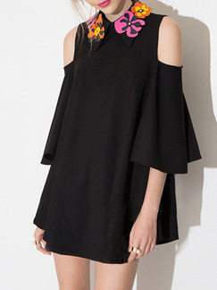 Black Shift Above Knee Dress for Casual Party Evening
