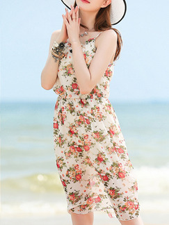 Beige Floral Slip Knee Length Dress for Casual Beach