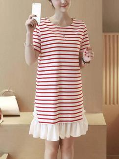 White and Red Shift Above Knee Plus Size Dress for Casual