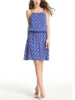 Blue Slip Fit & Flare Above Knee Dress for Casual Beach