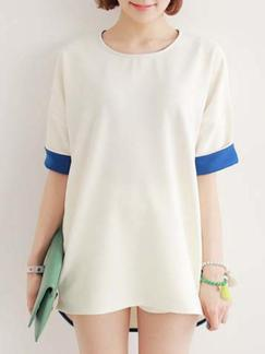 White T-Shirt Shift Above Knee Plus Size Dress for Casual Special Offer