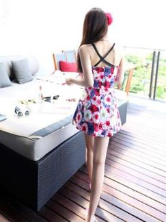 Colorful Slip Fit  Flare Floral Above Knee Dress for Casual Beach Special Offer
