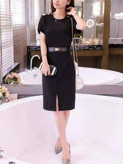 Black Sheath Knee Length Plus Size Dress for Casual Office Evening Special Offer