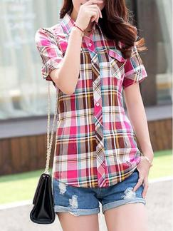 Red and Pink Colorful Shirt Plus Size Top for Casual Special Offer