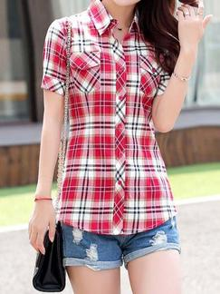 Red and White Shirt Plus Size Top for Casual Special Offer