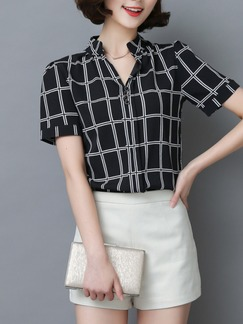Black and White Blouse Plus Size Top for Casual Office Special Offer