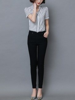 Black and White Blouse Plus Size Top for Casual Office