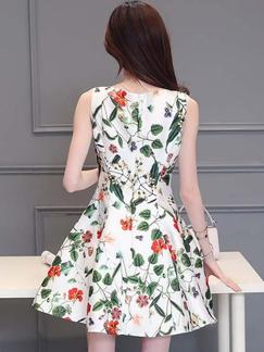White and Green Floral Fit & Flare Above Knee Plus Size Dress for Casual Evening Party