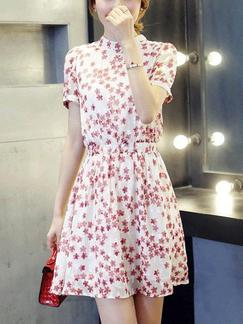 White and Red Floral Fit & Flare Above Knee Plus Size Dress for Casual Party