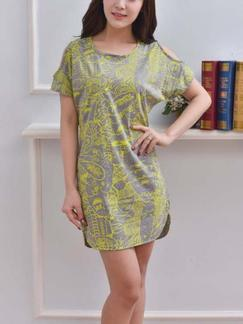 Grey and Green Shift Above Knee Plus Size Dress for Casual Special Offer