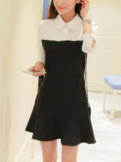 Black and White Shirt Shift Above Knee Long Sleeve Plus Size Dress for Casual Office Evening Special Offer