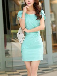 Green Sheath Above Knee Plus Size Dress for Casual Office Evening Party