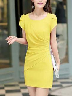 Yellow Sheath Above Knee Plus Size Dress for Casual Office Evening Party