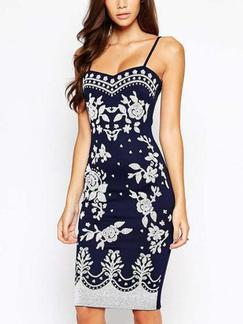 Blue and White Floral Slip Bodycon Knee Length Plus Size Dress for Casual Party Evening