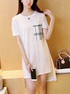 White T-Shift Shift Above Knee Dress for Casual
