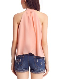 Pink Halter Plus Size Blouse Top for Casual  Special Offer