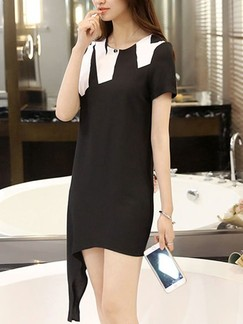 Black and White Shift Knee Length Dress for Casual Party Evening Special Offer