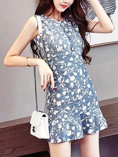 Blue and White Floral Bodycon Above Knee Dress for Casual Party