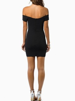 Black Off Shoulder Bodycon Above Knee Dress for Cocktail Party Evening Special Offer
