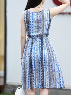 Blue Fit  Flare Knee Length Plus Size Dress for Casual Beach Special Offer