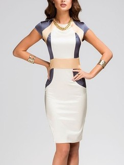 White Beige and Blue Bodycon Knee Length Plus Size Dress for Cocktail Evening Party