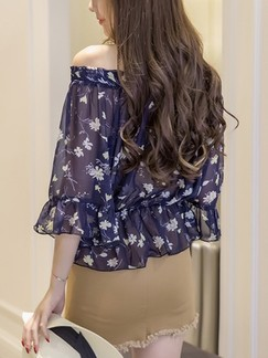 Blue Floral Off Shoulder Plus Size Top for Party Casual Evening