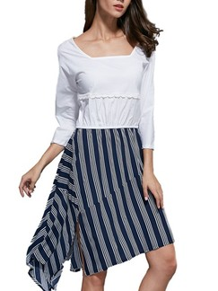 Blue and White Fit  Flare Knee Length Plus Size Dress for Casual Office Evening Party Special Offer