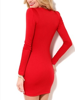 Red V Neck Wrap Bodycon Above Knee Plus Size Long Sleeve Dress for Cocktail Evening Party