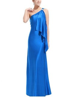Blue One Shoulder Maxi Plus Size Dress for Prom Cocktail