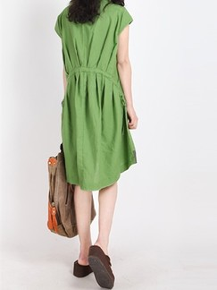 Green Shift Above Knee Plus Size Dress for Casual