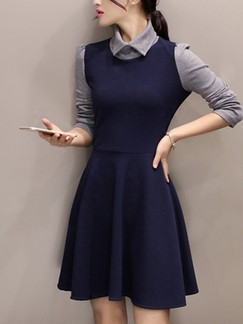 Blue and Grey Shirt Fit & Flare Above Knee Long Sleeve Plus Size Dress for Casual Office Evening Party