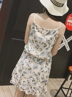 Beige and Blue Slip Above Knee Fit & Flare Floral Dress for Casual
