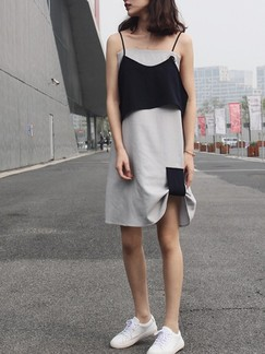 Black and Grey Slip Shift Above Knee Dress for Casual