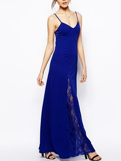 Blue Slip Maxi Plus Size Lace Dress for Cocktail Prom Special Offer