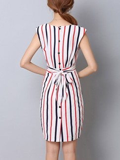 White and Red Sheath Above Knee Plus Size Dress for Casual Office
