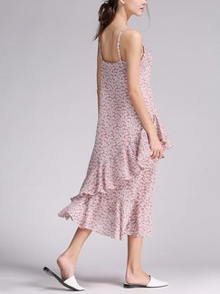 Pink Cute Slip Midi Shift Plus Size Dress for Casual Beach Special Offer