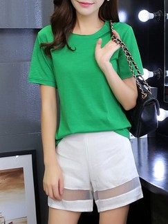 Green and White Two Piece Shirt Shorts Jumpsuit for Casual Office Special Offer