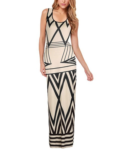 Beige and Black Maxi Slip Bodycon Plus Size Dress for Cocktail Prom