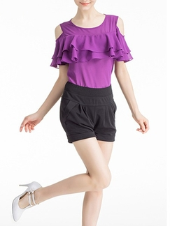Black Plain Plus Size Shorts for Casual Special Offer